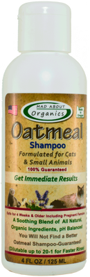 Mad About Organics Oatmeal Shampoo for Cats  Small Animals, 4-oz