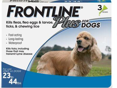 Frontline Plus Flea  Tick Spot Treatment for Dogs 23-44 lbs, 3-pack