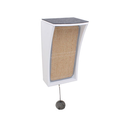Hauspanther CATchall Wall-Mounted Cat Scratcher, Perch  Storage, White