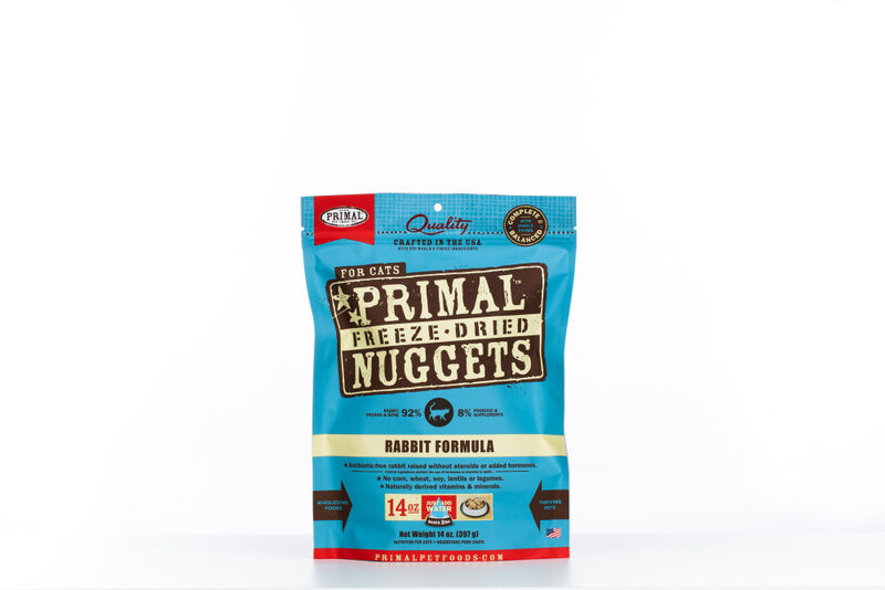 Primal Rabbit Formula Nuggets Grain-Free Raw Freeze-Dried Cat Food, 14-oz