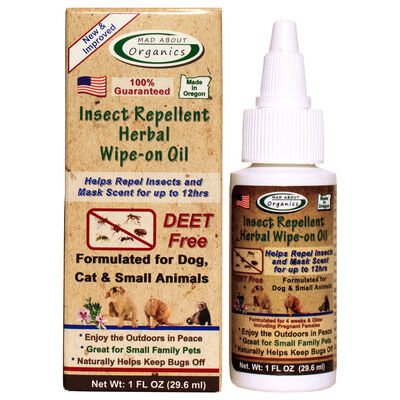 Mad About Organics Insect Repellent Herbal Wipe-on Oil for Dogs, Cats and Small Animals, 1-oz