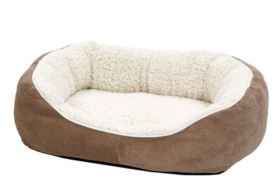 Midwest Quiet Time Cuddle Bed for Cats  Dogs, Taupe, Small