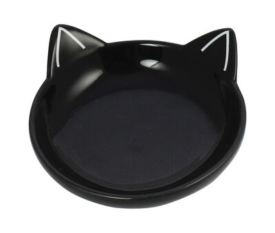 Winifred  Lily Cat Silhouette Cat Dish, Black
