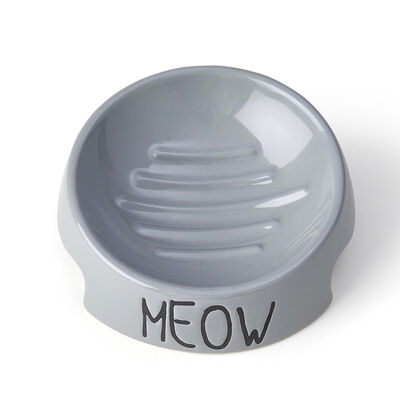 PetRageous Designs Meow Inverted Cat Bowl, Gray, 5-in