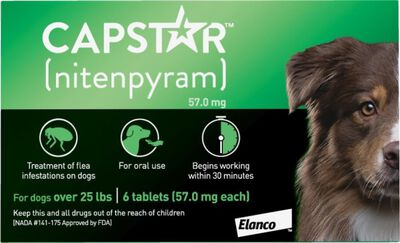 Capstar Oral Flea Treatment for Dogs 26-125 lbs, 6-pack