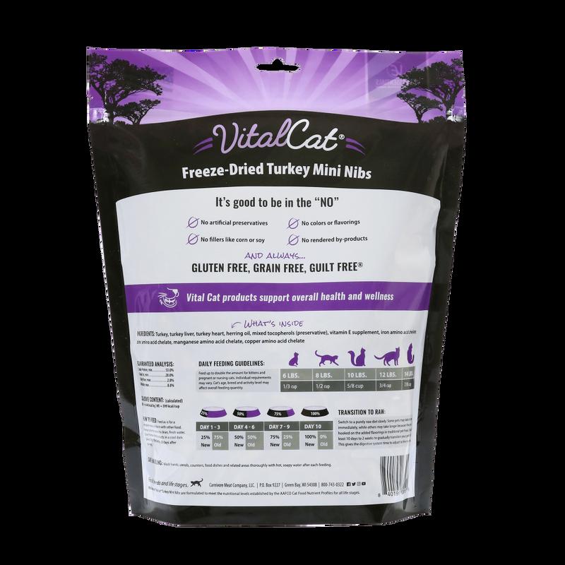 Vital Essentials Vital Cat Turkey Mini Nibs Entree Freeze-Dried Cat Food, 12-oz