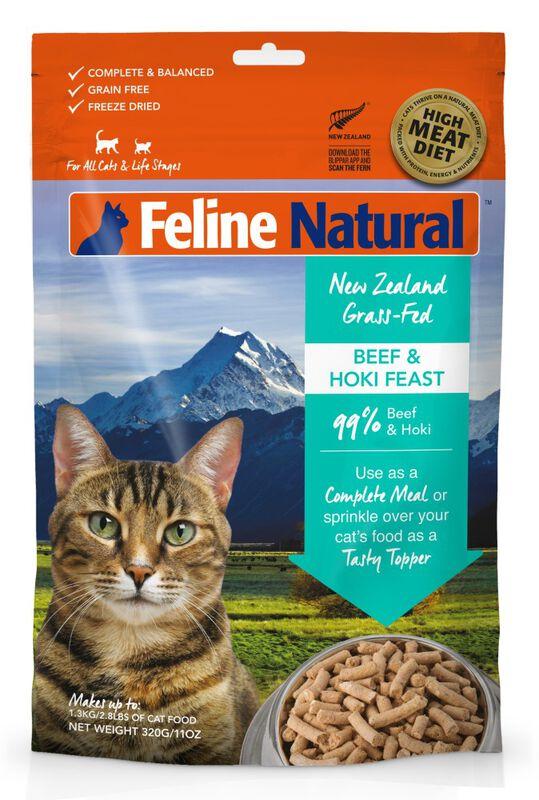 Feline Natural Beef amp; Hoki Feast Grain-Free Freeze-Dried Cat Food amp; Topper, 11-oz