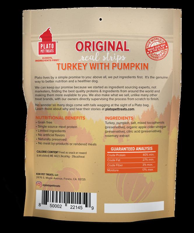 Plato Original Real Strips Turkey With Pumpkin Potato Dog Treat, 18-oz