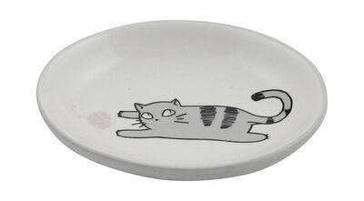 Winifred  Lily Cat Chasing Yarn Cat Dish, Gray, Oval