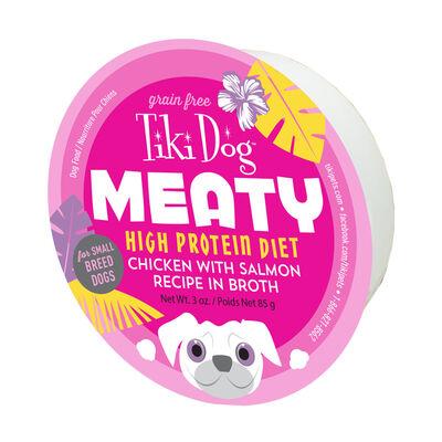 Tiki Dog Meaty Chicken with Salmon Recipe in Broth Wet Dog Food, 3-oz