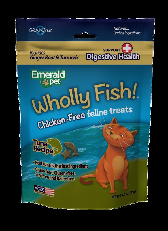 Emerald Pet Wholly Fish! Digestive Health Tuna Recipe Cat Treats, 3-oz