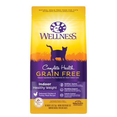 Wellness Complete Health Grain-Free Indoor Healthy Weight, Deboned Chicken  Turkey Meal Recipe Dry Cat Food, 5.5-lb