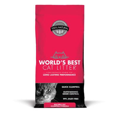 World's Best Multiple Cat Unscented Clumping Cat Litter, 28-lb