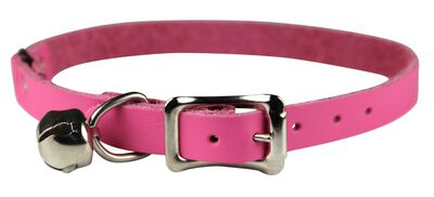 Omnipet Signature Leather Safety Stretch Cat Collar, Pink