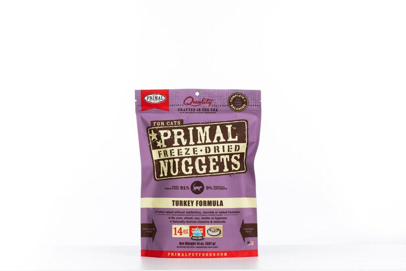 Primal Turkey Formula Nuggets Grain-Free Raw Freeze-Dried Cat Food, 14-oz