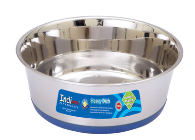 Indipets Heavy Dish with Rubber Base Dog Bowl, 96-oz
