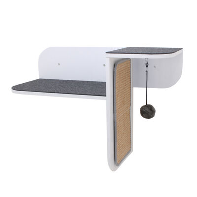 Hauspanther Step Perch Wall-Mounted Cat Perch, Scratcher,  Lounge, White