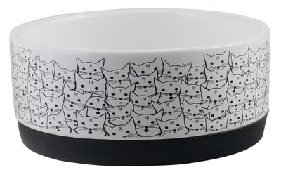Winifred  Lily Rubber Base Cat Face Pattern Cat Bowl