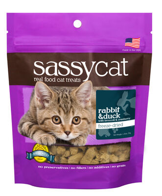 Herbsmith Sassy Cat Rabbit amp; Duck with Broccoli amp; Cranberry Freeze-Dried Cat Treats, 1.25-oz