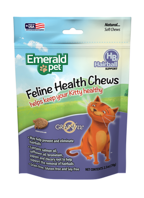 Emerald Pet Chicken Flavored Hairball Formula Grain-Free Cat Treats, 2.5-oz bag