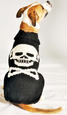 Chilly Dog Skull Dog Sweater, Black, Large