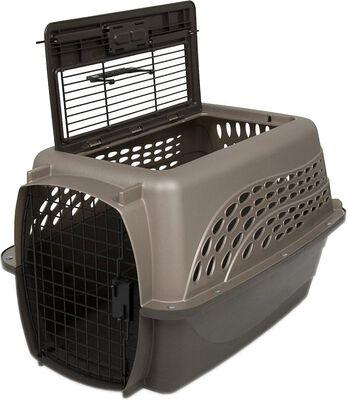 Petmate Two-Door Top Load Pet Kennel, Tan, Medium