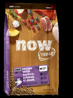 NOW FRESH Turkey, Salmon  Duck Senior Grain-Free Dry Cat Food, 8-lb