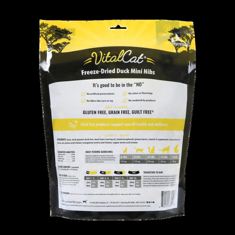 Vital Essentials Vital Cat Duck Mini Nibs Entree Freeze-Dried Cat Food, 12-oz