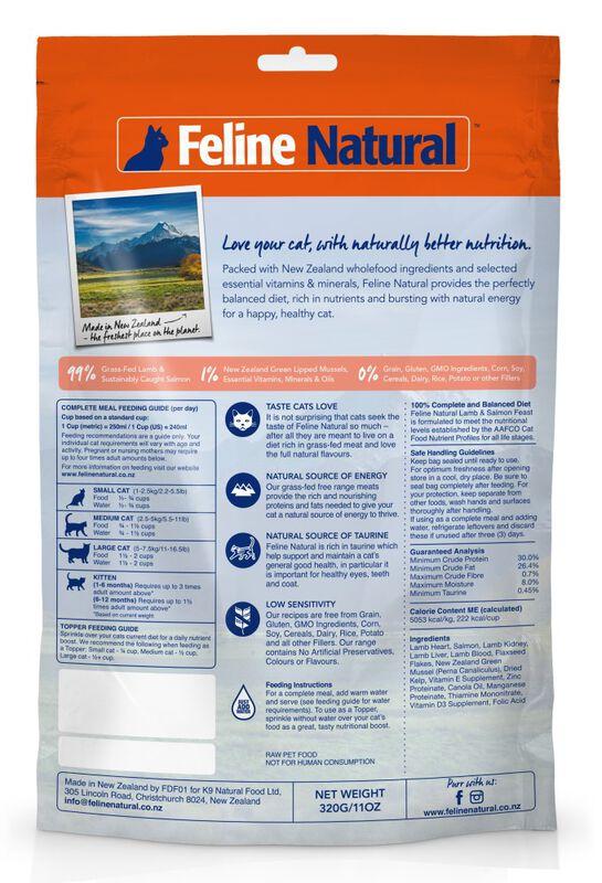 Feline Natural Lamb amp; King Salmon Feast Grain-Free Freeze-Dried Cat Food amp; Topper, 11-oz