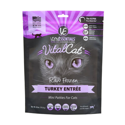 Vital Essentials Vital Cat Turkey Mini Patties Raw Frozen Cat Food, 28-oz