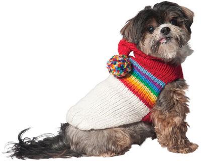 Chilly Dog Vintage Ski Hoodie Dog Sweater, Rainbow, XX-Large