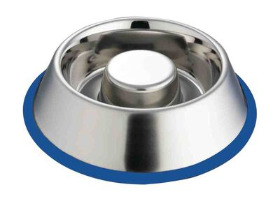 Indipets Stainless Steel Slow Feed Pet Bowl with Silicon Ring, Large