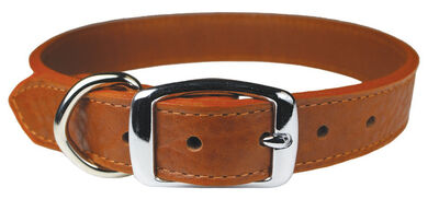 Omnipet Luxe Leather Dog Collar, Brown, 18-in