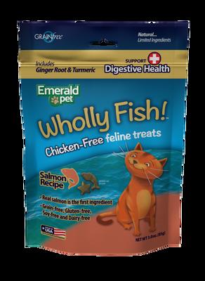 Emerald Pet Wholly Fish! Digestive Health Salmon Recipe Cat Treats, 3-oz