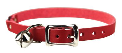 Omnipet Signature Leather Safety Stretch Cat Collar, Red