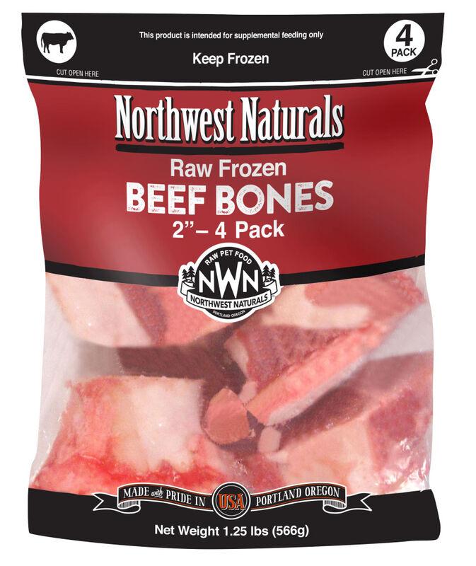 """Northwest Naturals Raw Frozen 2"""" Beef Bone Dog Treats, 4-pk"""