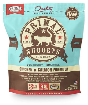 Primal Raw 1-oz Nuggets Chicken  Salmon Formula Raw Frozen Cat Food, 3-lbs