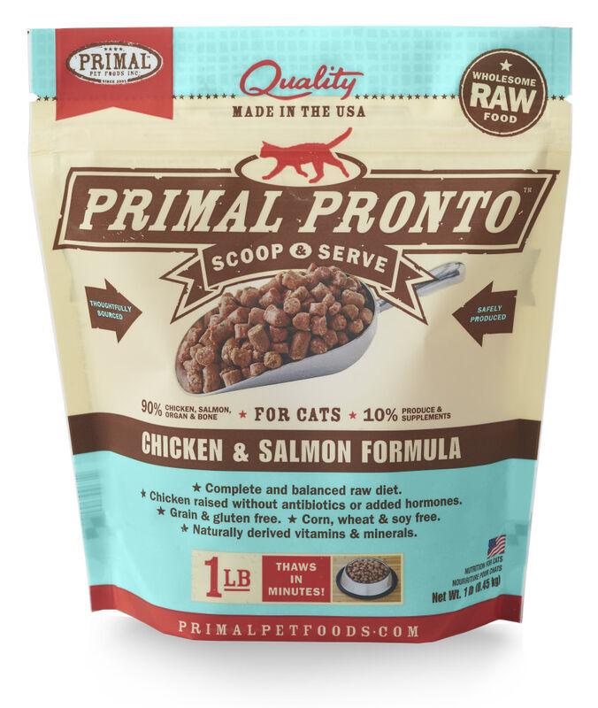 Primal Pronto Raw Chicken  Salmon Frozen Cat Food, 1-lb