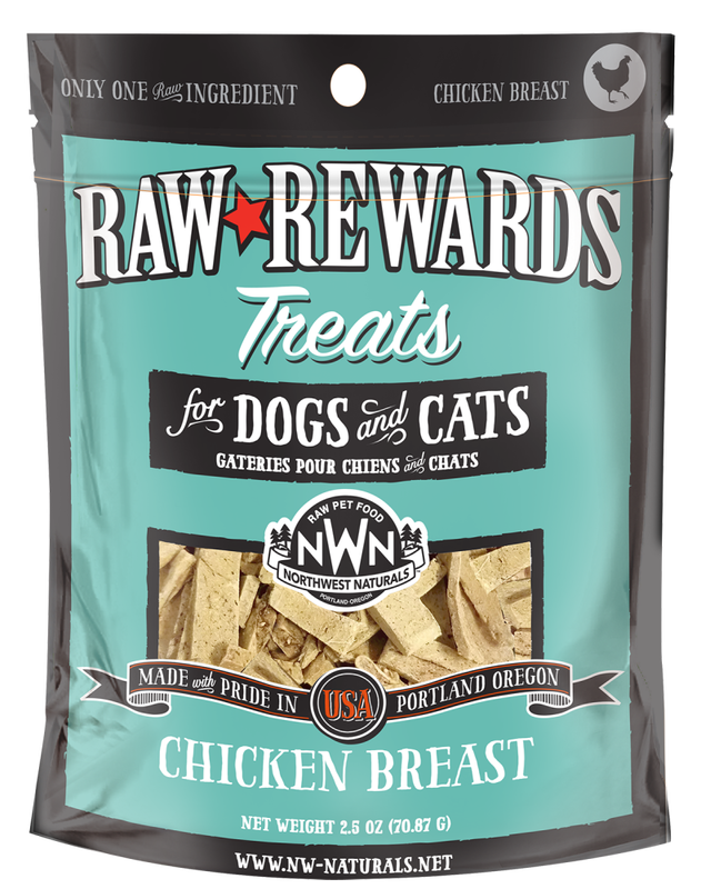 Northwest Naturals Raw Rewards Chicken Breast Freeze Dried Dog  Cat Treats, 3-oz