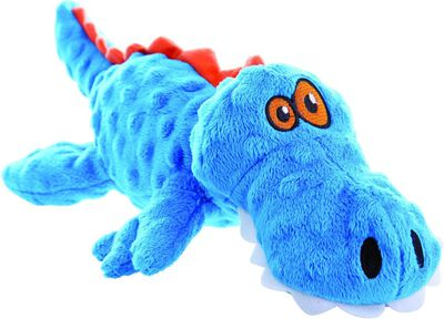 GoDog Just for Me Chew Guard Gators Dog Toy, Blue