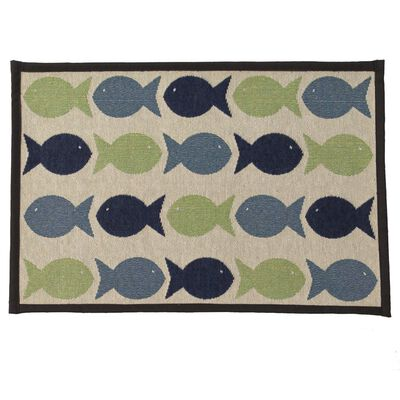 PetRageous Designs Kool Fishes Tapestry Mat, Small