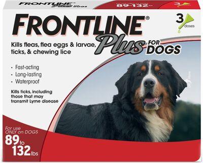 Frontline Plus Flea  Tick Spot Treatment for Dogs 89-132 lbs, 3-pack