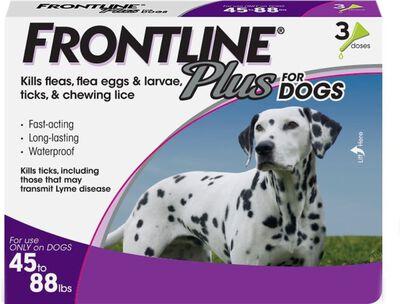 Frontline Plus Flea  Tick Spot Treatment for Dogs 45-88 lbs, 3-pack