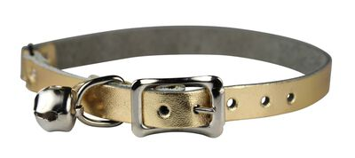 Omnipet Signature Leather Safety Stretch Cat Collar, Metallic Gold