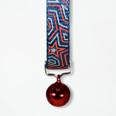 Goli Design Star Gazer Reflective Cat Collar, Red on Blue